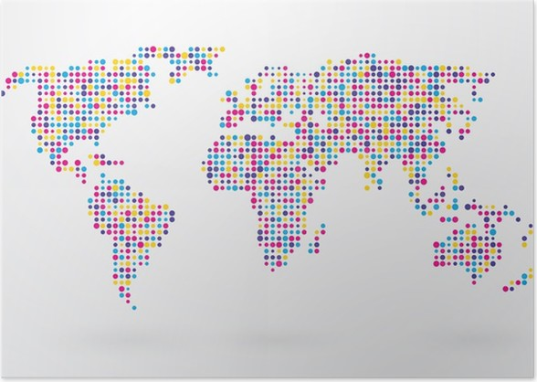 World map made up of small colorful dots poster pixers we world map made up of small colorful dots poster gumiabroncs Image collections