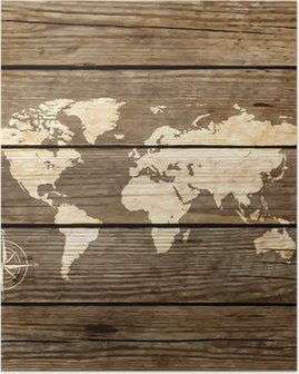 world map on a wooden board vector Poster