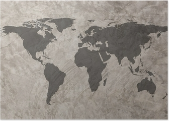World map on Grunge Concrete Wall texture background Poster