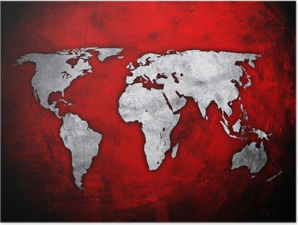 World map on red concrete wall poster pixers we live to change world map on red concrete wall poster art and creation gumiabroncs Images