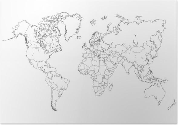World map outline illustration poster pixers we live to change world map outline illustration poster backgrounds publicscrutiny Images