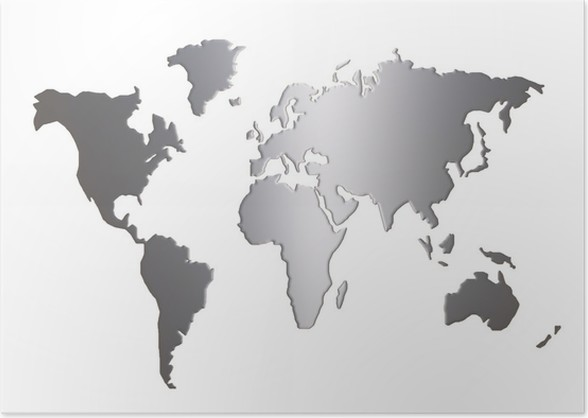 World Map Silhouette Isolated On White Background Poster Pixers - World map silhouette poster