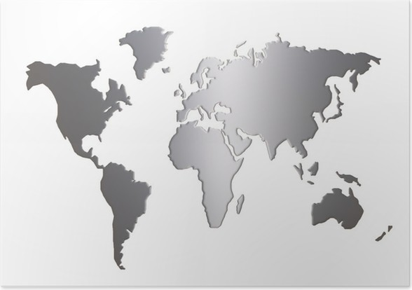 world map silhouette isolated on white background poster