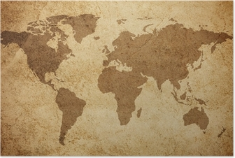 World map texture background Poster
