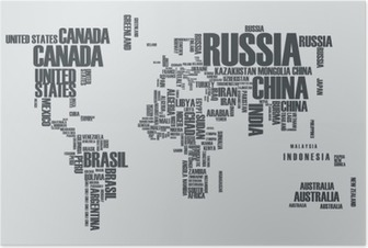 World map:the contours of the country consists of the words Poster