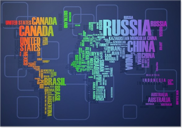 world mapthe contours of the country consists of the words poster business concepts