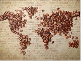 Poster World Map Van Koffiebonen