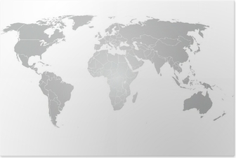 Póster World Map Vector gradiente gris