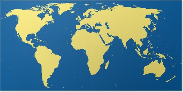 World map with continents in dark blue ocean poster pixers we world map with continents in dark blue ocean poster gumiabroncs Image collections