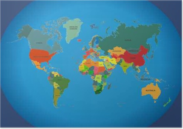World map with country names. Poster • Pixers® • We live to change