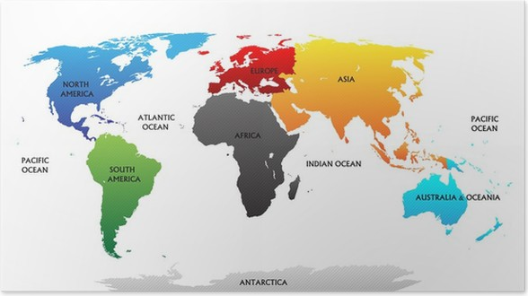 World map with highlighted continents poster pixers we live to world map with highlighted continents poster themes gumiabroncs Image collections