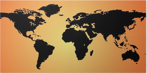 World Map Poster Pixers We Live To Change - World map silhouette poster