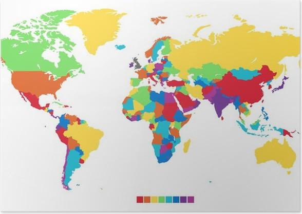 Worldmap in rainbow colors poster pixers we live to change worldmap in rainbow colors poster themes gumiabroncs Gallery