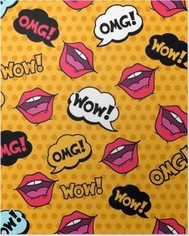 Poster Wow! Seamless mönster i popkonst komiska stil med pratbubblor
