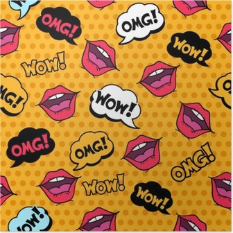 Wow! Seamless pattern in pop art comic style with speech bubbles Poster