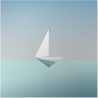 Poster Yacht pictogram symbool in moderne laag poly stijl. Zomer vakantie of reizen vakantie achtergrond. Bedrijfs metafoor voor vrijheid en succes.