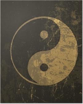 Poster Yin yang grunge icon. Met spatie textuur, vector
