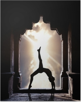 Yoga silhouette in temple Poster
