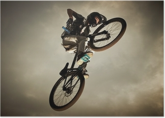 Young man flying on his bike: Dirt jump Poster
