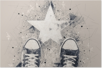 Young person on the road with star shape imprint Poster