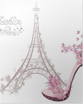 Póster Zapatos de tacón alto en el fondo de la Torre Eiffel. La moda de París