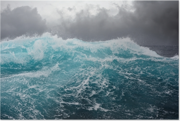 Poster Zee golf in de Atlantische Oceaan tijdens storm -