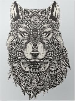 Poster Zeer gedetailleerde abstracte wolf illustratie