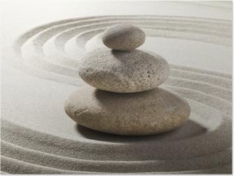 Poster Zen tuin met zand en kiezels