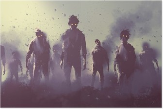 zombie crowd walking at night,halloween concept,illustration painting Poster