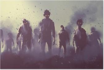 Poster Zombie publiken gå på natten, halloween koncept, illustration målning