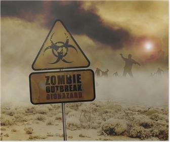 zombies desert sign Poster