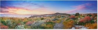 Poster Zonsondergang op de mediterrane vegetatie