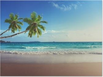 Poster Zonsondergang op het strand van de Seychellen