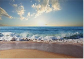 Poster Zonsondergang op het strand