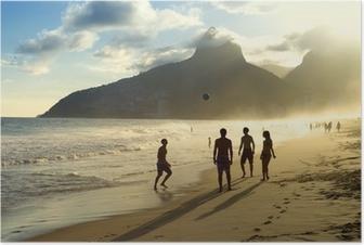 Poster Zonsondergang Silhouetten Spelen Altinho Futebol Beach Voetbal Brazilië
