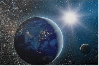Poster Zonsopgang boven de planeet en satellieten in de ruimte.