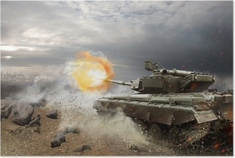 Poster Zwaar pantser in het vuur van de strijd