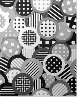 Poster Zwart-witte achtergrond met cirkels