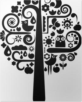 Poster Zwarte en witte boom met ecologische pictogrammen