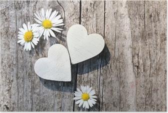 Poster Zwei weiße Herzen