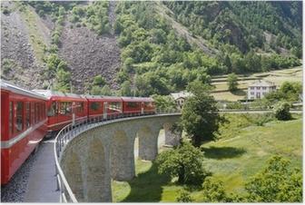 Poster Zwitserse berg trein Bernina Express