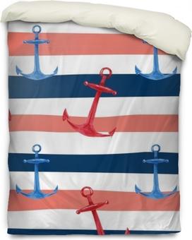 Poszewka na kołdrę Akwarela ręcznie rysowane wzór z niebieski i czerwony kotwice na czerwonym, białym i niebieskim tle morskich paski. ładny i prosty design żeglarski.