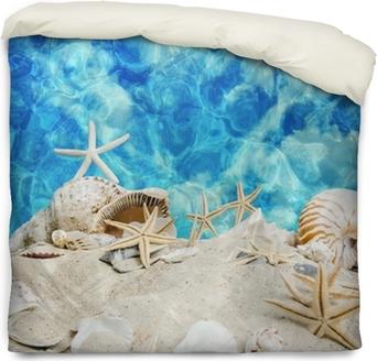 Poszewka na kołdrę Czysta lato: muszelki i rozgwiazdy na niebieskim morzu