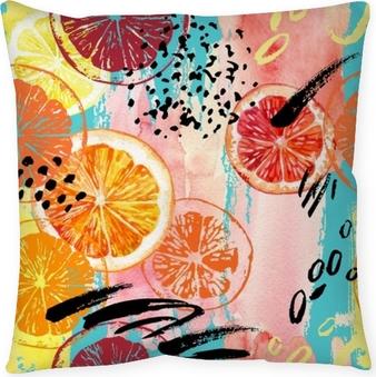 Poszewka na poduszkę Akwarela pomarańczowy, cytryna, grejpfrut wzór.
