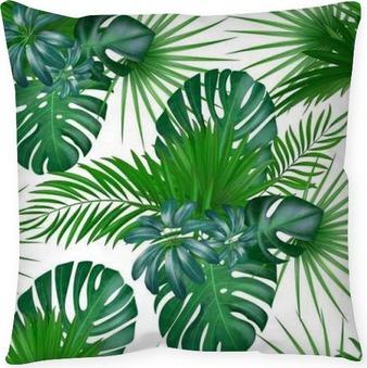 Poszewka na poduszkę Bezszwowe ręcznie rysowane realistyczne botaniczny egzotyczny wektor wzór z zielonych liści palmowych na białym tle.
