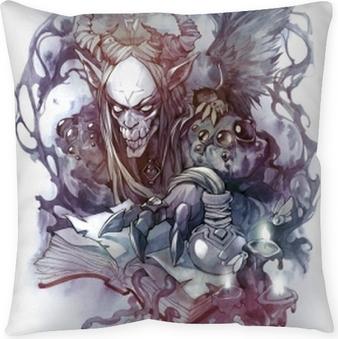 Poszewka na poduszkę Ezoteryczny ręcznie rysowane tatuaż ilustracja mitologicznego stworzenia demona