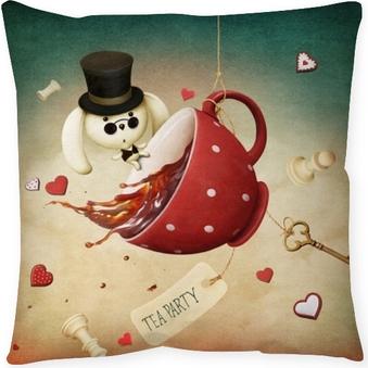 Poszewka na poduszkę Ilustracja fantazji z czerwoną filiżankę herbaty i królika