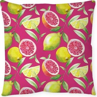 Poszewka na poduszkę Ładny, ręcznie robiony wzór liści herbaty i owoców cytrusowych: cytryny, grejpfruty, pomarańcza, limonka. akwarela.