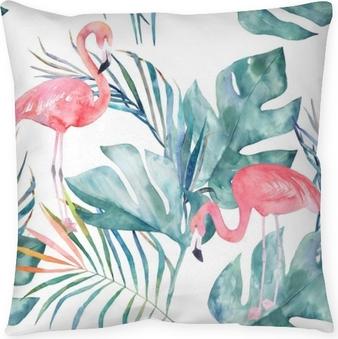 Poszewka na poduszkę Tropikalny wzór z flamingo i liści. druk lato akwarela. egzotyczna ręka rysująca ilustracja