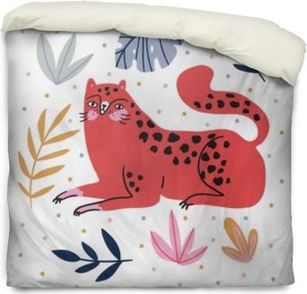 Povlak na přikrývku Ručně kreslené ilustrace s divoké kočky a tropické listy na pozadí puntíky - pro domácí dekor, tričko tisk, plakát, blahopřání. kreativní roztomilý vektorové ilustrace s leopard.